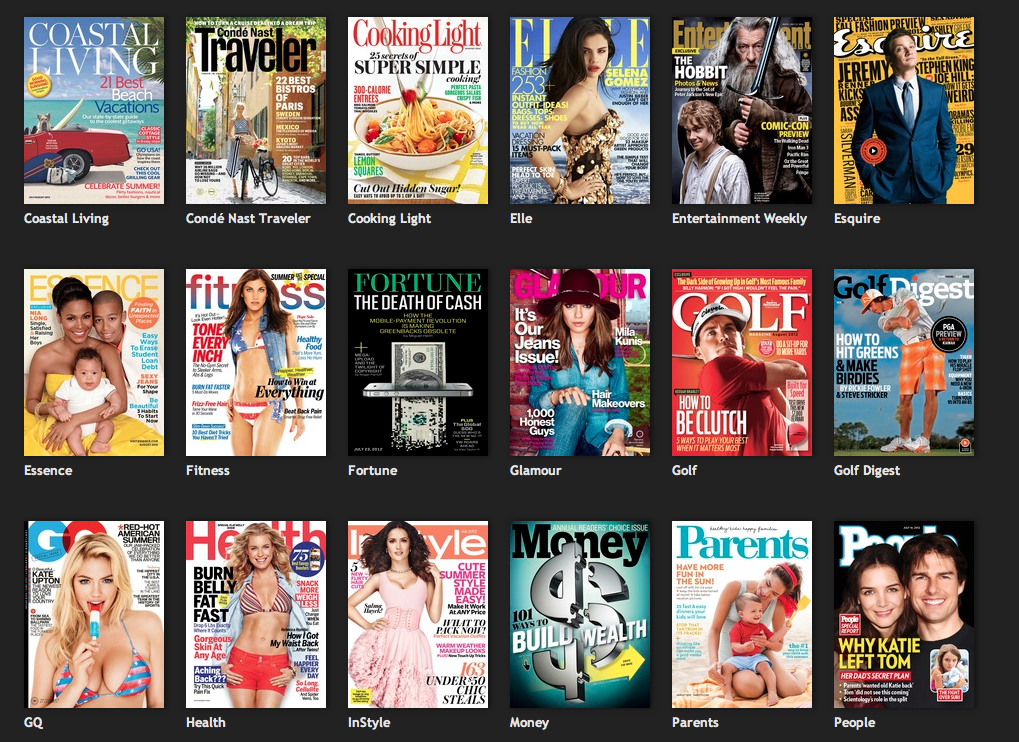 Bundled offer of Magazines on tablets such as Fortune, GQ, Wired, Equire, Bon Appetit