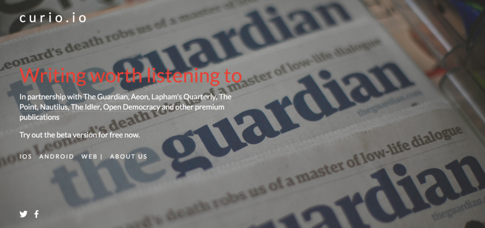 Curio.io brings podcasts from high quality publications.