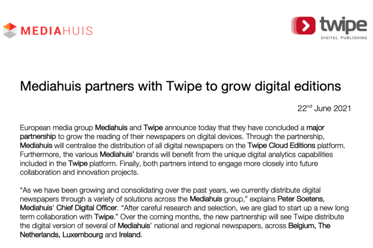 Mediahuis partners with Twipe to grow digital editions